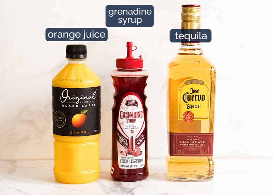Photo of what goes in Tequila Sunrise cocktail - grenadine syrup, orange juice and tequila