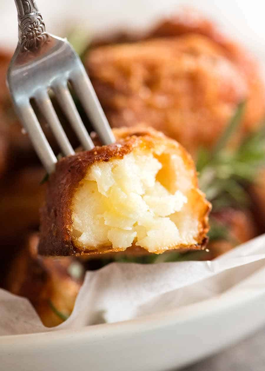 Close up the inside of Duck Fat Potatoes