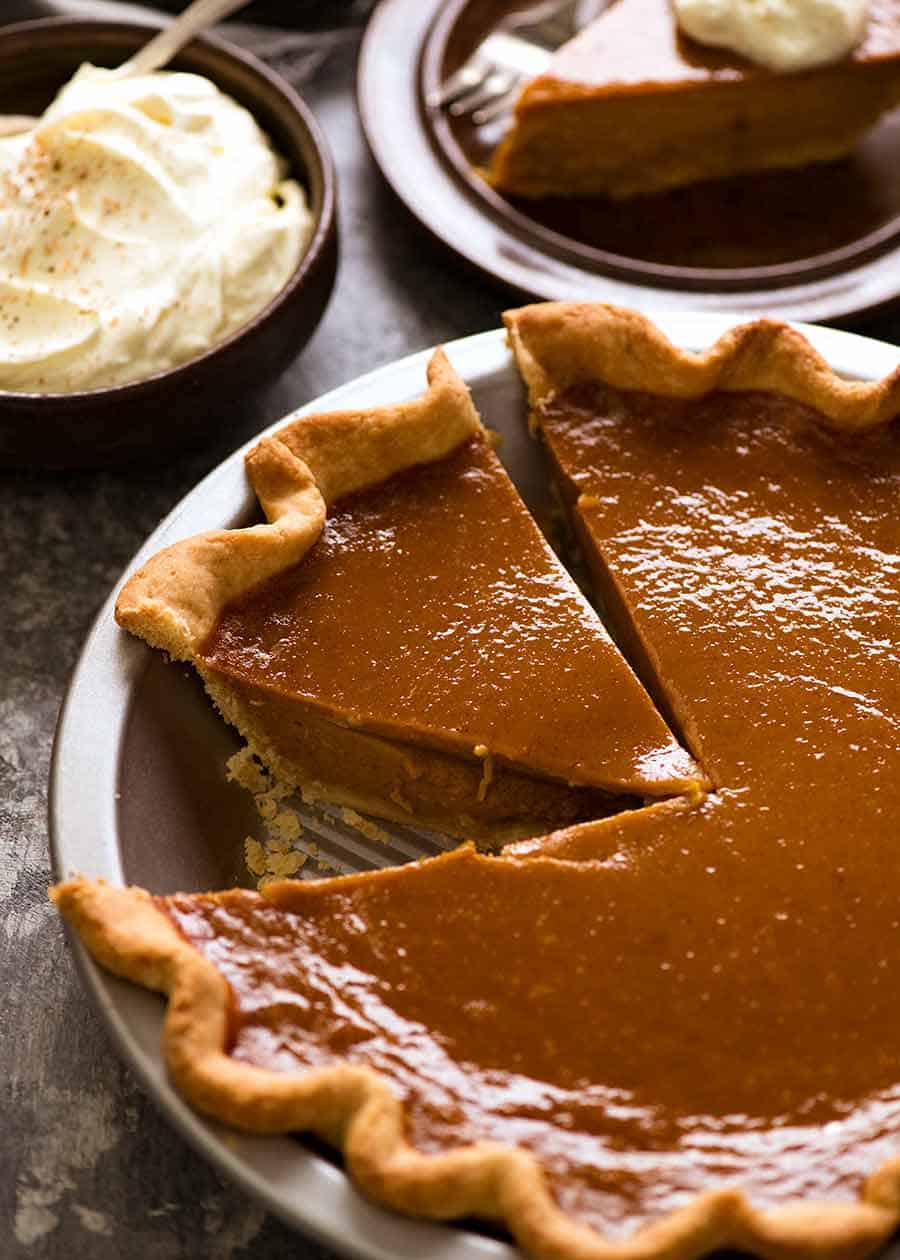 The BEST Pumpkin Pie, perfect in everyday with a beautiful smooth filling, crack free surface and flaky buttery pie crust