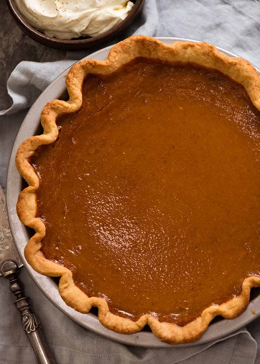 Overhead photo of Pumpkin Pie showing no cracks on surface