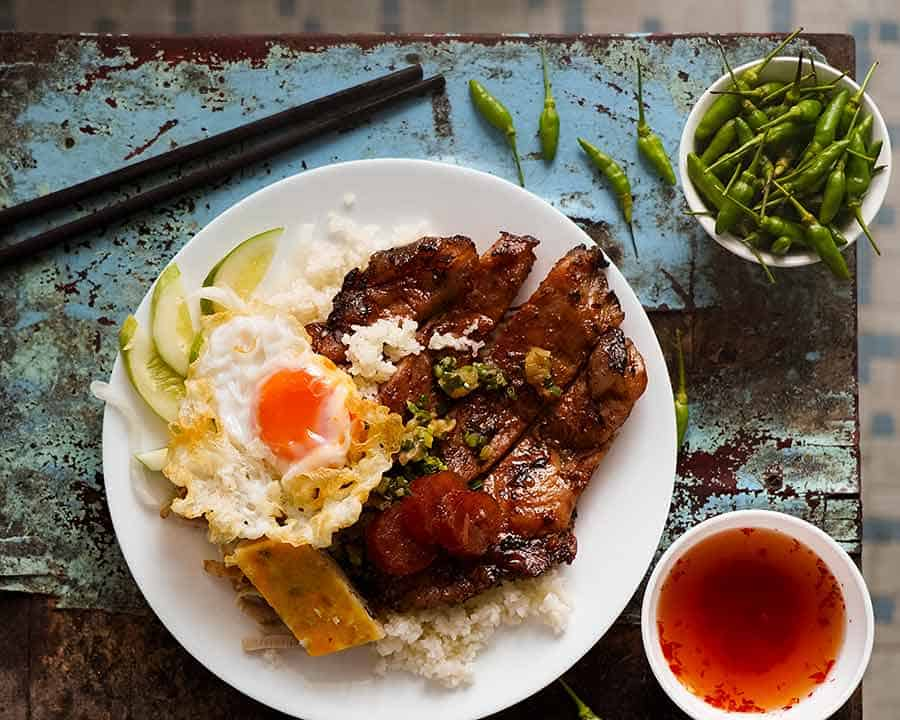 Overhead photo of famous Vietnamese Broken Rice - Com Tam