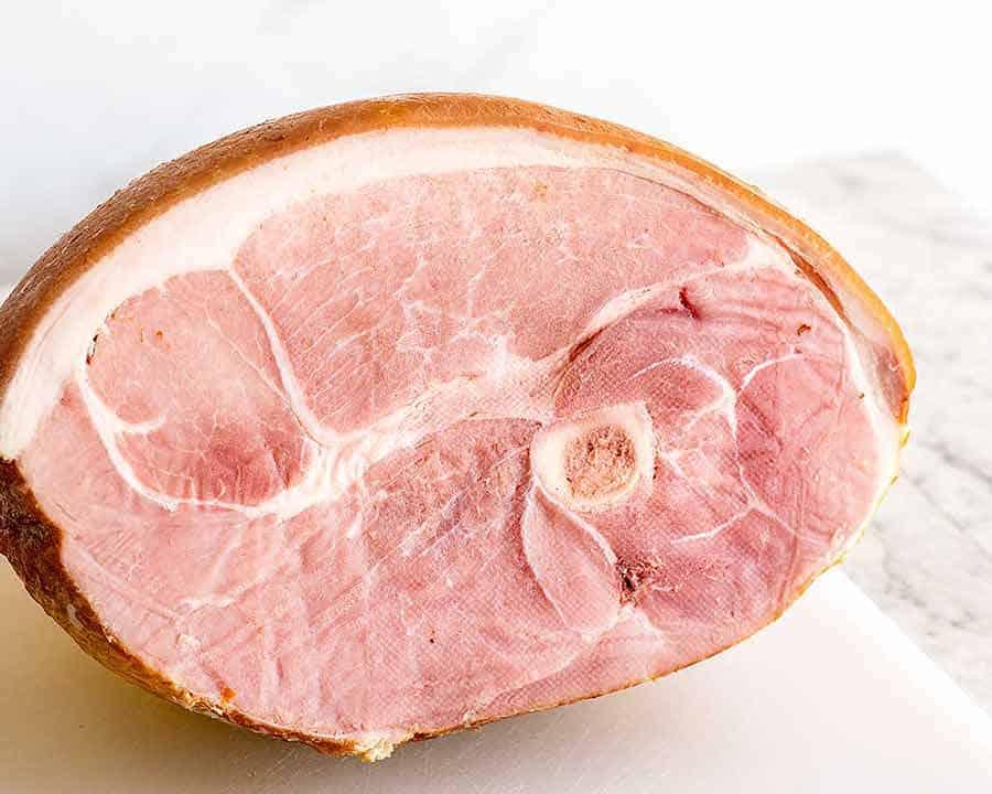 Cut face of half ham leg