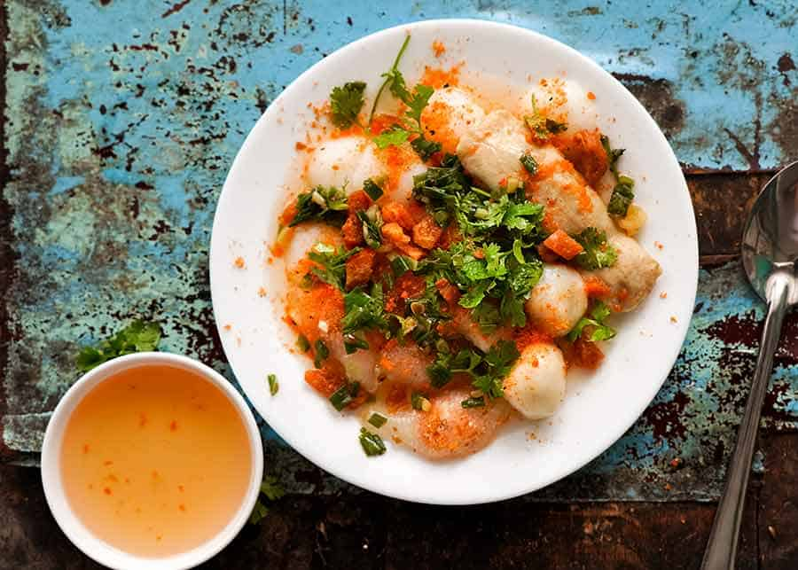"Banh Beo - Steamed rice cakes (""UFO's"") in Ben Thanh Markets in Ho Chi Minh City, Vietnam"