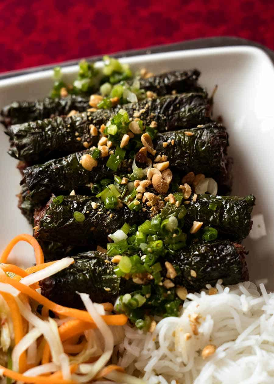Vietnamese Bo La Lot - Betel leaves wrapped around grilled beef