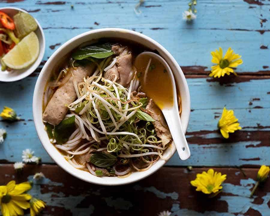 Overhead photo of Vietnamese Spicy Beef Noodle Soup - Bun Bo Hue