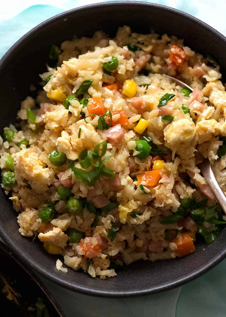 Close up of Cauliflower Fried Rice in a bowl, ready to be eaten