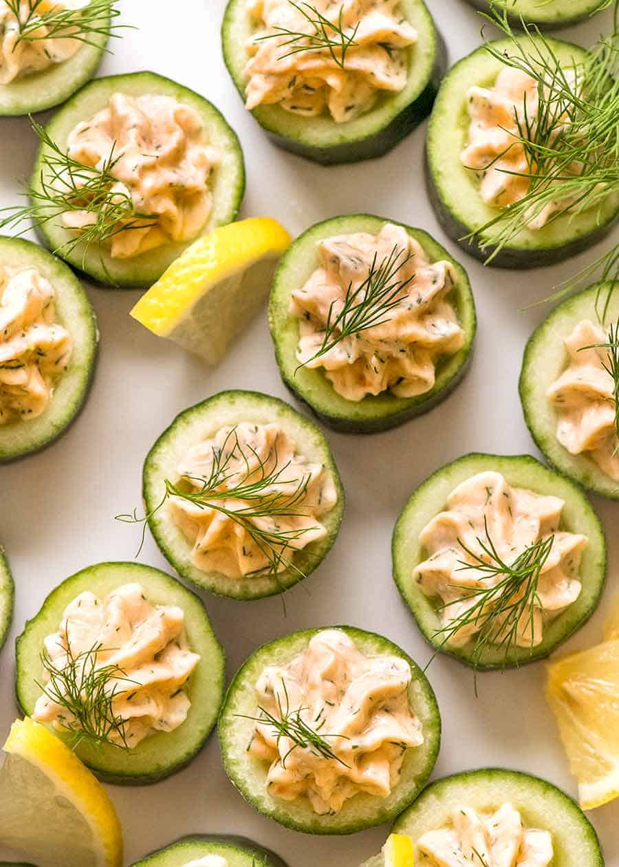 Overhead photo of Cucumber Finger Food with Smoked Salmon Mousse