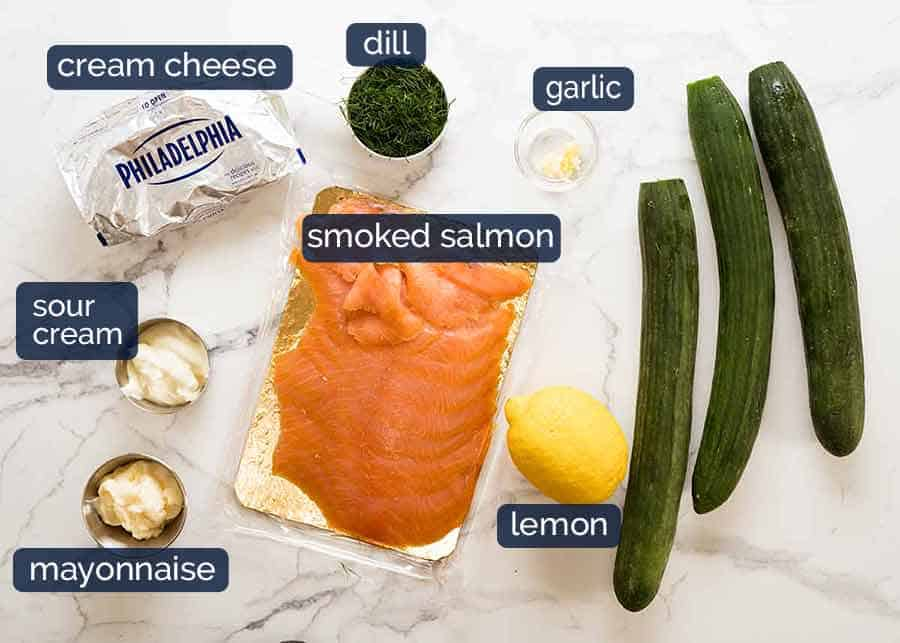 Ingredients in Cucumber Canapes with Smoked Salmon Mousse