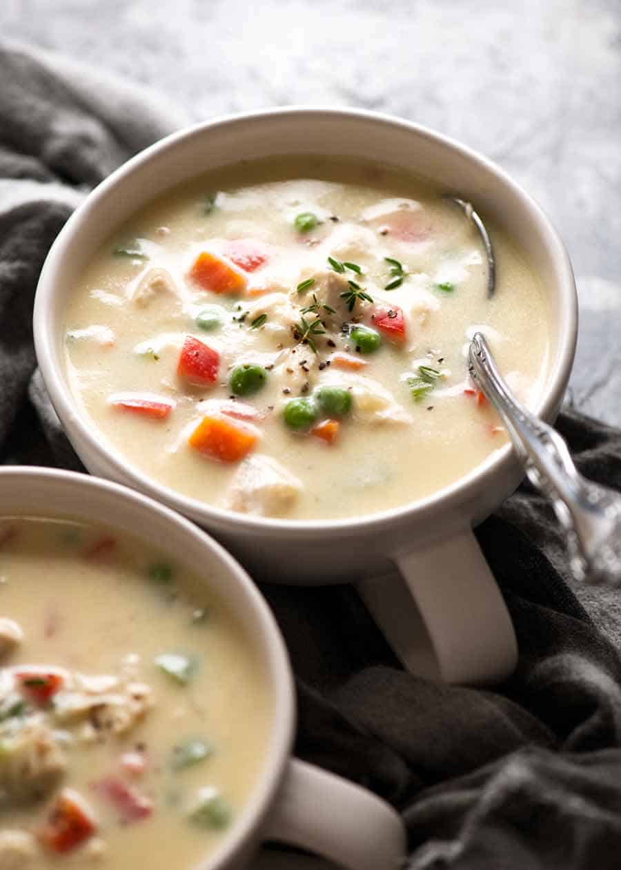 Two bowls of Healthy Cream of Chicken Soup
