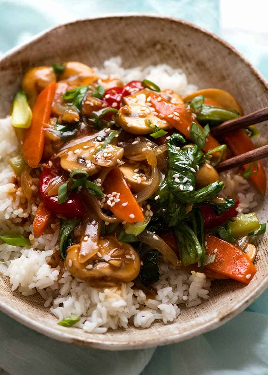 Saucy Vegetable Stir Fry served over rice