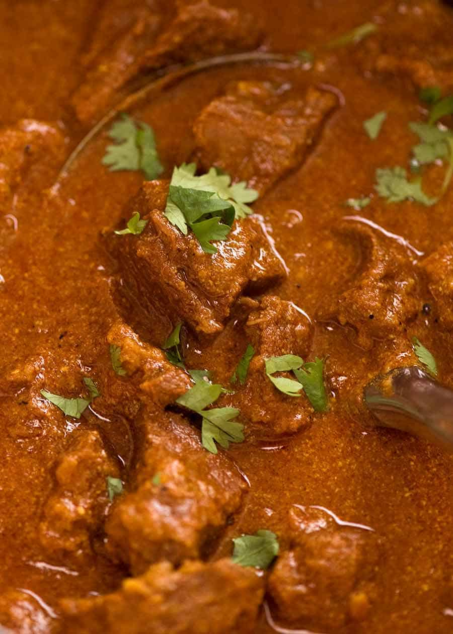 Close up of fall apart tender lamb Rogan Josh
