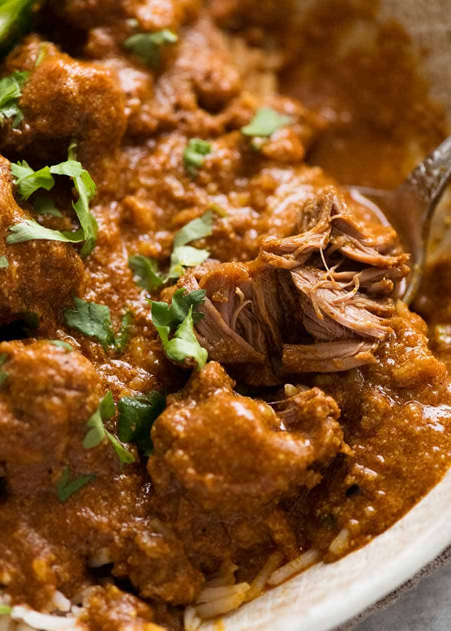 Close up showing tender lamb in Rogan Josh