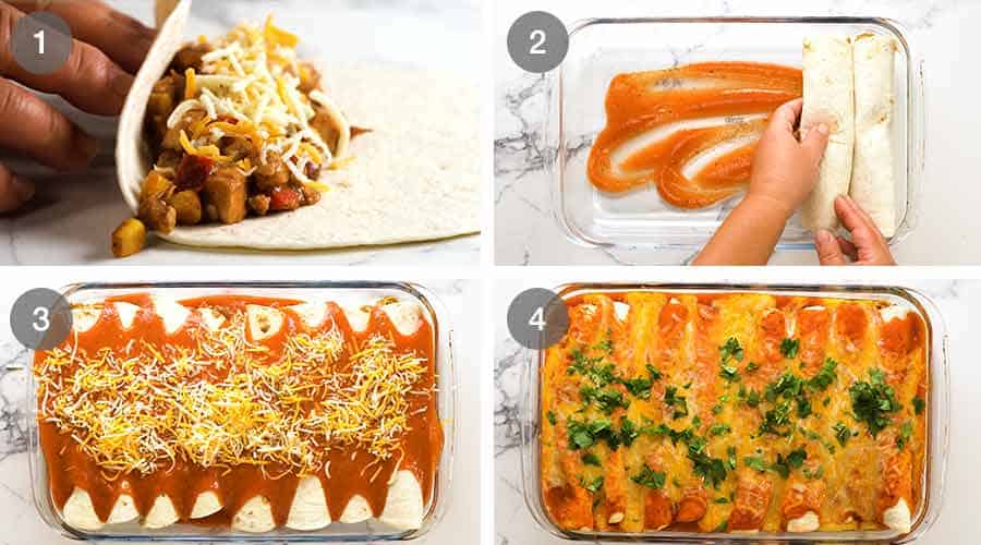 How to assemble Chicken Enchiladas
